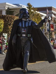Darth Vader walks down Main Street during Cedar City's Storybook Cavalcade Parade Saturday, Nov. 14, 2015.