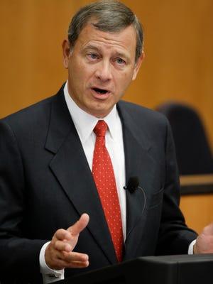U.S. Supreme Court Chief Justice John Roberts speaks at the University of Nebraska in 2014.
