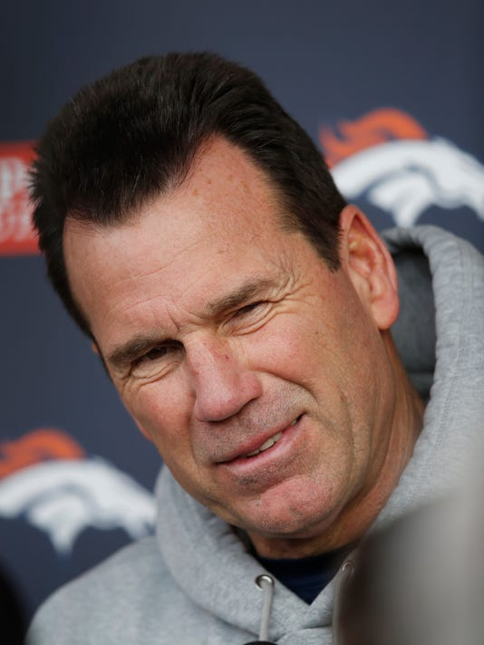 Denver Broncos head coach Gary Kubiak jokes with reporters after the team's NFL football practice Wednesday, Jan. 13, 2016, at the Broncos' headquarters in Englewood, Colo. The Broncos are preparing to host the Pittsburgh Steelers in an AFC second-round playoff game Sunday in Denver. (AP Photo/David Zalubowski)