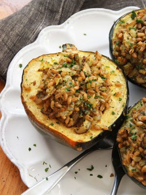 This acorn squash stuffed with mushrooms, farro and winter citrus recipe will satisfy both vegans and meat-eaters alike.