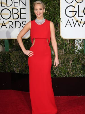 Jennifer Lawrence arrives at the 73rd Annual Golden Globe Awards at the Beverly Hilton Hotel.