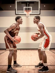Twin brothers Malachi, left, and Isaiah Rice, right, who attend Brebeuf and Park Tudor, pose for a photo at their Carmel home.