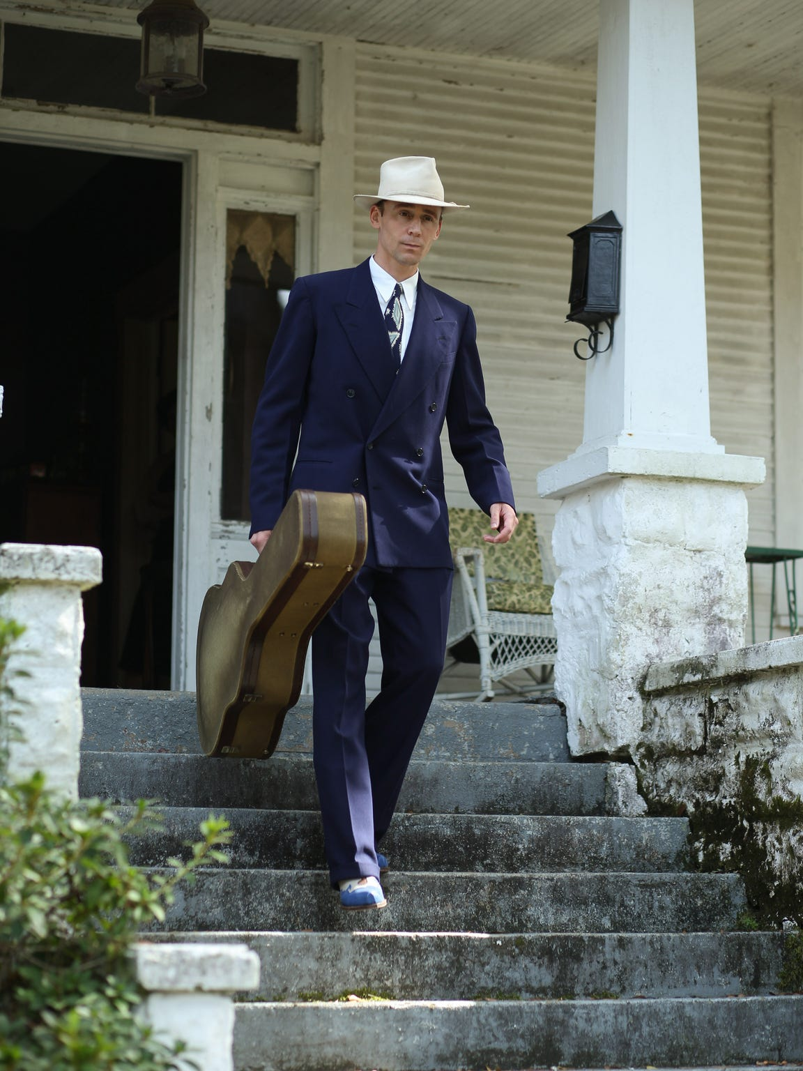 Tom Hiddleston as Hank Williams films a scene for I Saw the Light. A house in Minden, Louisiana doubled as Williams' mother's boarding house where he grew up in Alabama.
