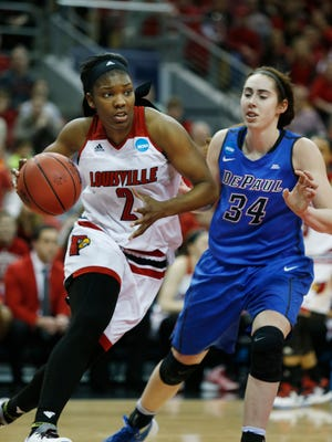 DePaul held Louisville's leading scorer, Myisha Hines-Allen to only 9 points today. March 20, 2016.