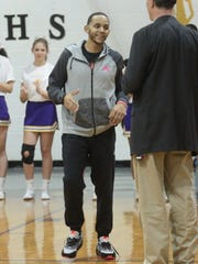 Josh Artis greets Clarksville High coach Ted Young