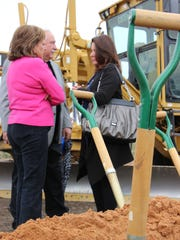 Gov. Martinez participates in a discussion at the groundbreaking of the US 285 road repair project.