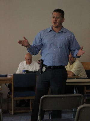 Corporal Richard Cage tells Carlsbad residents how to deal with an active threat.