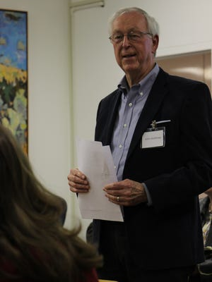 John Andrews, one of the members of the Carlsbad Cultural Council, speaks at Tuesday's council meeting.