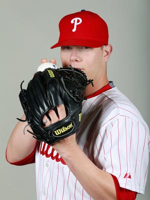 Feb 26, 2016; Clearwater, FL, USA; Philadelphia Phillies relief pitcher Andrew Bailey (38) poses for a photo during photo day at Bright House Field. Mandatory Credit: Kim Klement-USA TODAY Sports