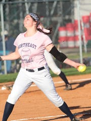 Northeast pitcher Alicia Veltri sets to release the