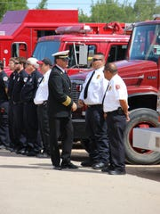 Robert Brader says goodbye to members of the Eddy County Fire Service.