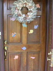 Shell reef on front door of Harrison home.
