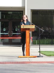 Governor Kate Brown spoke at the ribbon-cutting ceremony for the Richard Woodcock Education Center at Western Oregon University in Monmouth on Friday, September 23, 2016.