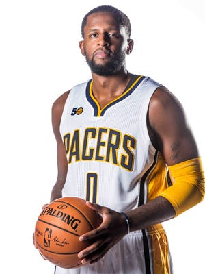The Indiana Pacers No. 0, C.J. Miles poses for photos on Media Day at Bankers life Fieldhouse, Monday September 26th, 2016.