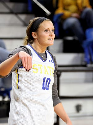 South Dakota State's Kerri Young reacts to a made shot to finish a round in the 3-point contest during the SDSU Basketball Tipoff Thursday night at Frost Arena in Brookings.