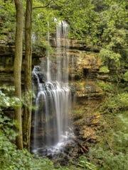 The 110-foot namesake cascade at Virgin Falls