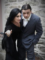 """Virginia Weinman Leitner and Paul Crisafi perform in """"The Addams Family,"""" a new musical comedy presented by 90 Miles Off Broadway Oct. 28-30 at Highland High School, Highland."""