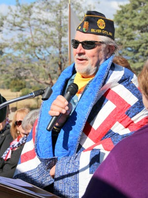 Al Wranek of American Legion Post 18 speaks after he is honored with his Quilt of Valor.