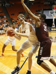 UTEP center Matt Willms prepares to go take a shot against Maryland-Eastern Shore's Isaac Taylor during first half action Wednesday in the Don Haskins Sun Bowl Invitational.