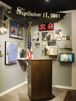 The podium at which President George W. Bush spoke from on Sept. 11, 2001 rests on exhibit at the Barksdale Global Power Museum, which is free and open to the public on base.