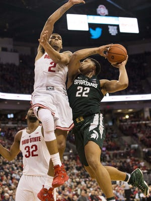 Freshman Miles Bridges scored 24 points on 9 of 13 shooting in Michigan State's 72-67 loss Jan. 15 at Ohio State.