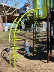 Anthony (climbing), 5, and Austyn, one-and-a-half,