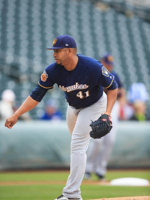 Brewers pitcher Junior Guerra on the mound during a 2017 spring training baseball game against the Texas Rangers.