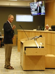 Collier County Commissioner Bill McDaniel address the Marco Island City Council at its March 6 meeting. The council discussed its ongoing negotiations with the county regarding the ownership and repair of Goodland Drive.