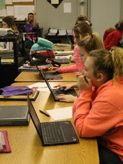 Students in Scott Fortkamp's applied mathmatics class