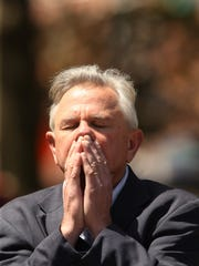 Program Director for the Market Street Mission Tom Giglio prays during the Annual National Day of Prayer event on the Morristown Green..  May 3, 2017, Morristown, NJ