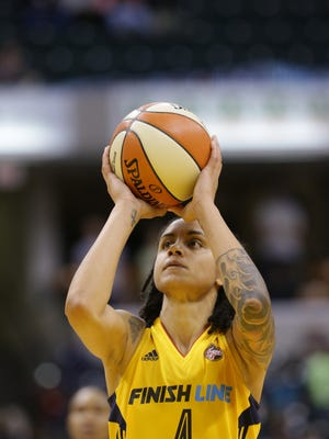 Indiana Fever forward Candice Dupree (4) sinks a free throw in the final minutes of a game against the Connecticut Sun at Bankers Life Fieldhouse  in Indianapolis, Saturday May 20, 2017.
