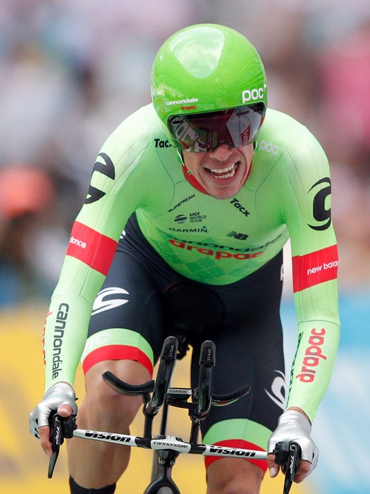 Colombia's Rigoberto Uran rides to the finish line in the twentieth stage of the Tour de France cycling race, an individual time trial over 22.5 kilometers (14 miles) with start and finish in Marseille, southern France, Saturday, July 22, 2017. (AP Photo/Christophe Ena)
