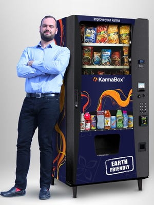 A.J. MacQuarrie, founder and CEO of KarmaBox Vending, brings his healthy vending machines to Hendersonville.