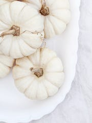Beautiful table decorations of white pumpkins.