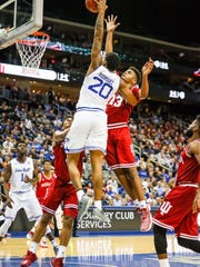 Seton Hall Pirates forward Desi Rodriguez (20) attempts a dunk over Indiana