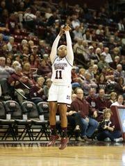 Roshunda Johnson makes a shot during Mississippi State's