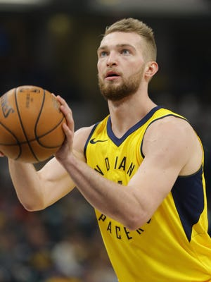 Indiana Pacers center Domantas Sabonis (11) shoots a free throw during a game against the Miami Heat at Bankers Fieldhouse on Wednesday, Jan. 10, 2018.