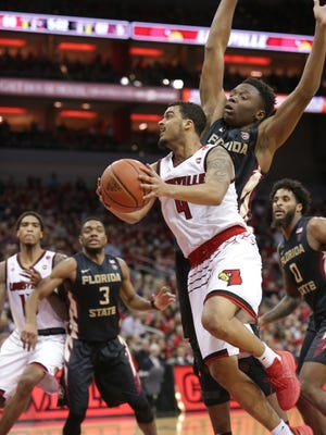 Louisville's Quentin Snider tried to rally his team late in the game against FSU. Feb. 3, 2018.