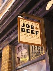 Joe Beef's door sign