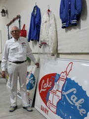 Former milk hauler Richard Schwarts has become an avid collector of Lake to Lake Dairy Cooperative signage as well as vintage photos of the dairy plants and haulers.
