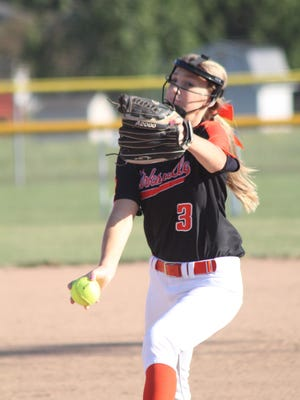 Kirksville's Audrey Danielson pitches during the first inning of Thursday's complete game shutout of Moberly.