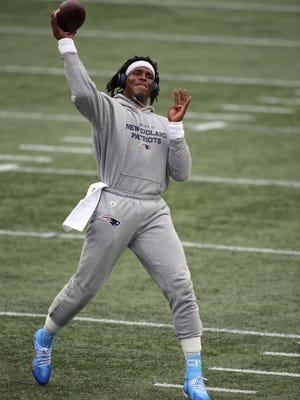 Foxboro, MA, Sept 27, 2020 -Cam Newton throwing in last minute of 2nd quarter almost get deflected.  The New England Patriots vs. the Las Vegas Raiders at Gillette Stadium.