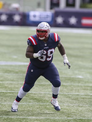 New England Patriots offensive lineman Shaq Mason (69) during the first half of an NFL football game against the Las Vegas Raiders, Sunday, Sept. 27, 2020, in Foxborough, Mass.