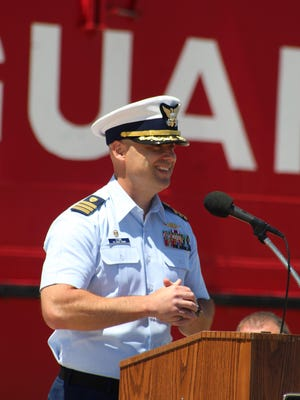 United States Coast Guard Cutter Mackinaw Commander John Stone, seen here at the 75th Anniversary of the cutter being stationed in Cheboygan, recently retired from the Coast Guard. The City of Cheboygan passed a resolution thanking him for his years of service to the community and the country. Tribune File Photo by Kortny Hahn
