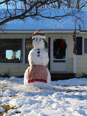 After the last significant snowfall in the City of Cheboygan, just after New Year's, a unique snowman was created on South Cuyler Street, on the city's southwest side, watching those who drive down the road. Photo by Kortny Hahn