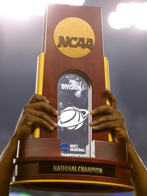 The NCAA men's basketball tournament trophy