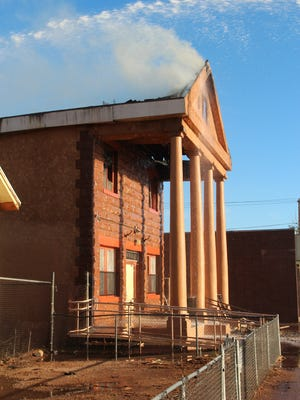 Fire damaged the historic Masonic Temple in Winslow on Oct. 10, 2014.