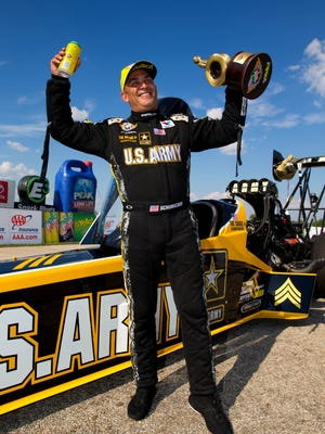 Tony Schumacher will try for his record eighth NHRA Top Fuel title this weekend.