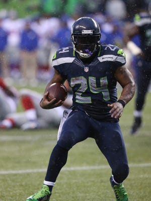 Seahawks running back Marshawn Lynch rushed for 140 yards against the Giants Sunday, and Seattle piled up an eye-popping 350 yards on the ground in its 38-17 victory.