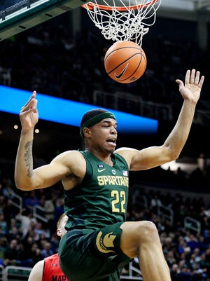 Michigan State's Miles Bridges dunks the ball against Maryland during the first half on Thursday, Jan. 4, 2018, at the Breslin Center in East Lansing.